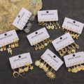 Набор женских винтажных золотых серег, ювелирные украшения с геометрическими фиксаторами в форме ключа, луны, звезды, монеты, круглые масси...