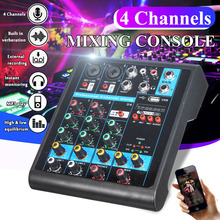 جهاز كمبيوتر صغير محمول مزود بـ 4 قنوات مزود بـ USB يعمل بالبلوتوث ومشغل MP3 ويعيش ستوديو الصوت DJ وحدة تحكم خلط الصوت كاريوكي بقوة 48 فولت