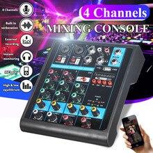 ミニ4チャンネルusbポータブルミキサーbluetooth MP3ライブスタジオオーディオdjサウンドミキシングコンソールカラオケコンピュータ48 48vファンタム電源