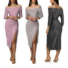 цена Women Dress Sexy Slash Neck Spliting Dress A-shoulder Solid Color Middle Sleeve Vestidos Bodycon Slim Women Clothing в интернет-магазинах