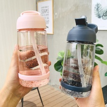 New Colors Water Cup With Straw Household Simple Handle Portable Sport Bottle 1000ml