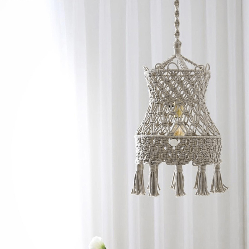Wall Tapestry Lampshade Decoration Macrame Bohemia Handcraft Tassel Tapestry Background Wall Cafe Decor