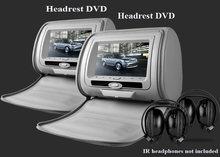Paire de lecteurs DVD pour appui-tête de voiture, 2x7 pouces, USB/SD, jeu sans fil 32 bits, IR,FM, pour voiture, 3 couleurs, noir, Beige, gris