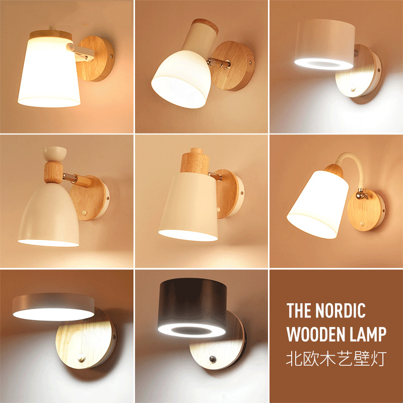 Nordic Wooden Led Indoor Wall Lamp Modern Wood Switch Wall Sconce Light Fixtures Bedside Corridor Home Hotel Decor Room Lighting