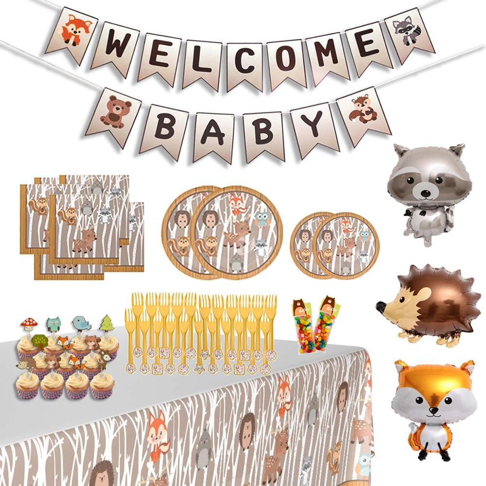 Woodland Baby Shower Decorations Animal Themed Gender Neutral Party Supplies Tableware With Banner And Woodland Foil Balloons