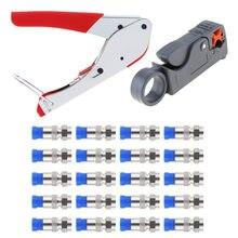 Cabo coaxial stripper compressão f conector rg59 rg6 cabo friso alicate stripper rede braçadeira friso ferramenta com 20 pces f cabeça