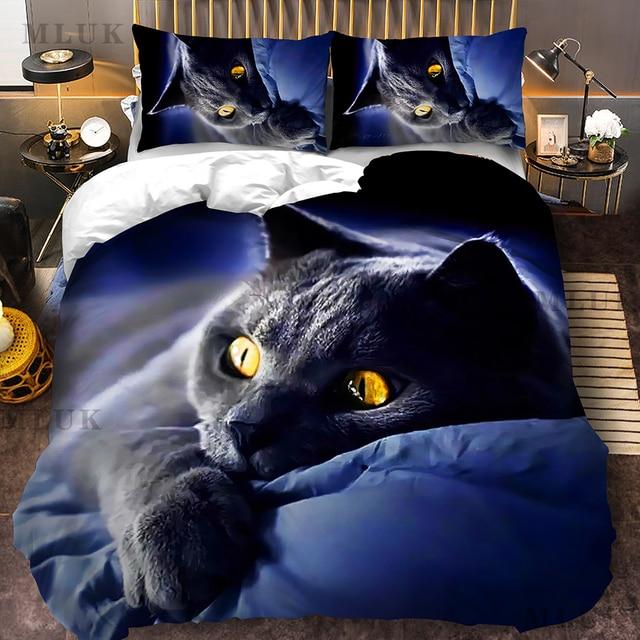 Animal 3d cute cat custom bedding set kitten quilt cover pillowcase 3pcs twin designer designer bedding luxury  My Pet World Store