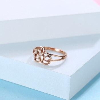Anillo para mujer, joyería de loto de acero inoxidable para parejas, anillo de boda, anillos de colores de acero dorado de lujo, regalos de moda, accesorios para mujeres