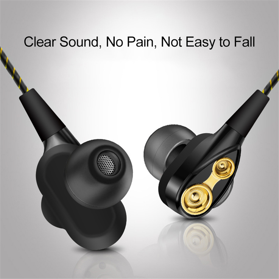 3.5mm Quad-core Double-action Ring Earphone High Performance Sports Music Earphone 3D Stereo Volume Control With Microphone