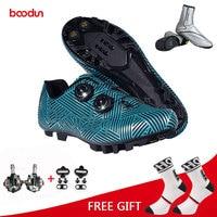 Spor ve Eğlence'ten Bisiklet Ayakkabıları'de Boodun MTB bisiklet ayakkabı profesyonel erkekler nefes bisiklet ayakkabı bisiklet kendinden kilitleme spor ayakkabı Zapatillas Ciclismo