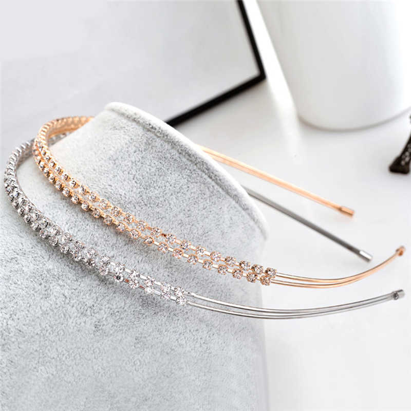 1PC Fashion Cristal Strass Bandeau Argent Or Serre-tête Bandeau cheveux Hoop