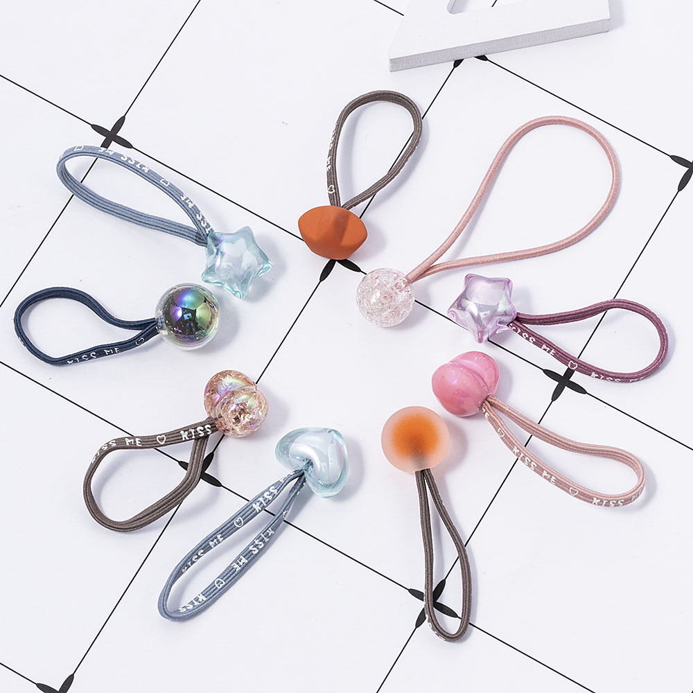 10pcs 6.5cm Random Candy Color Hair Accessories Crystal Pendant Rubber Bands Hair Bands Ponytail Holder For Women Girl Feeling