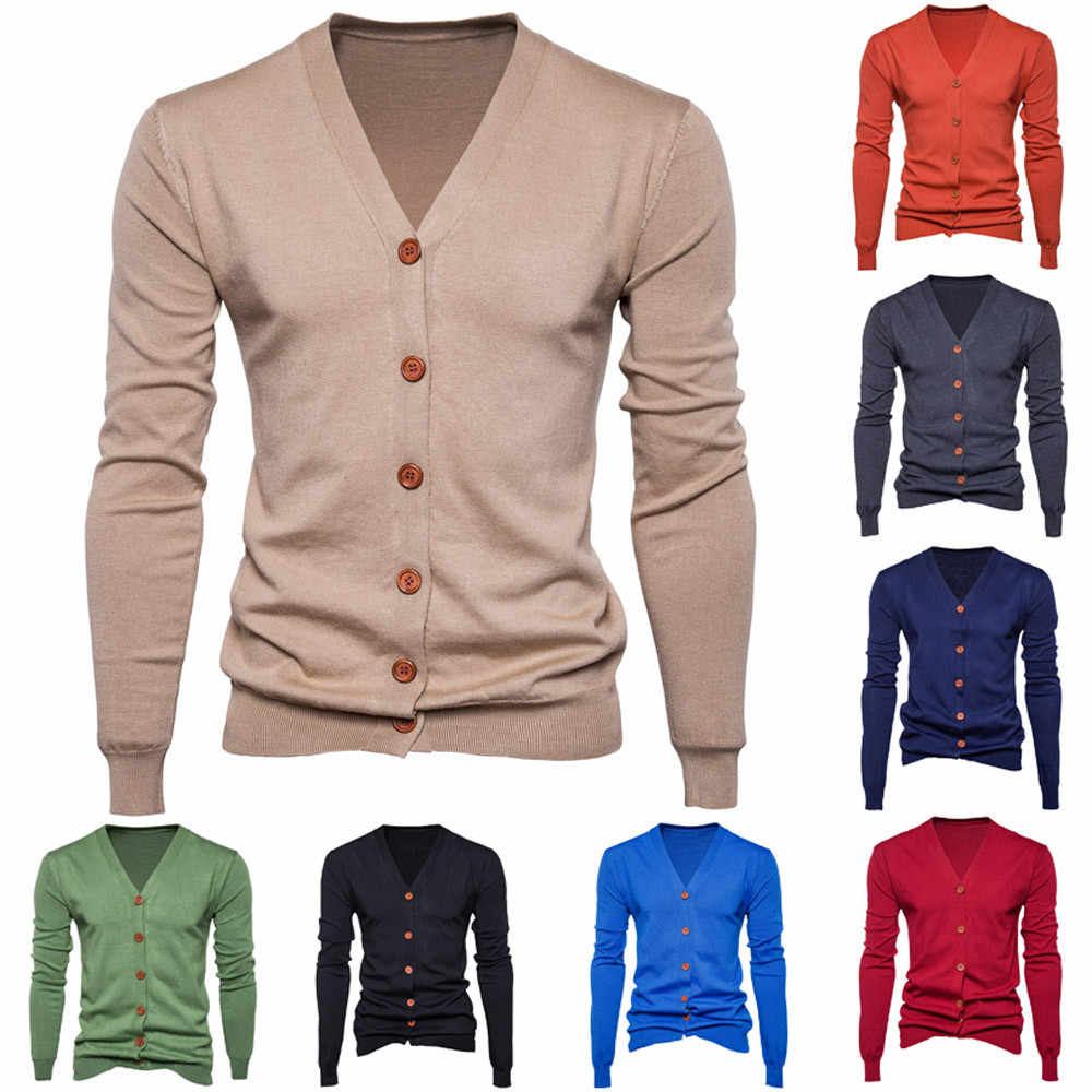 Sweater Men Autumn Winter Long Sleeve Cardigan Mens V-Neck Button Fit Knitting Casual Style Clothing Knit Sweaters ardigan Coat