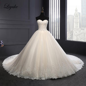 Liyuke Ball-Gown Wedding-Dress Champagne Lace Strapless Elegant Luxury of Symmetrical