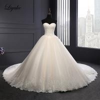 Liyuke Luxury Ball Gown Wedding Dress Strapless Of Elegant Symmetrical Lace Champagne Bridal Dress
