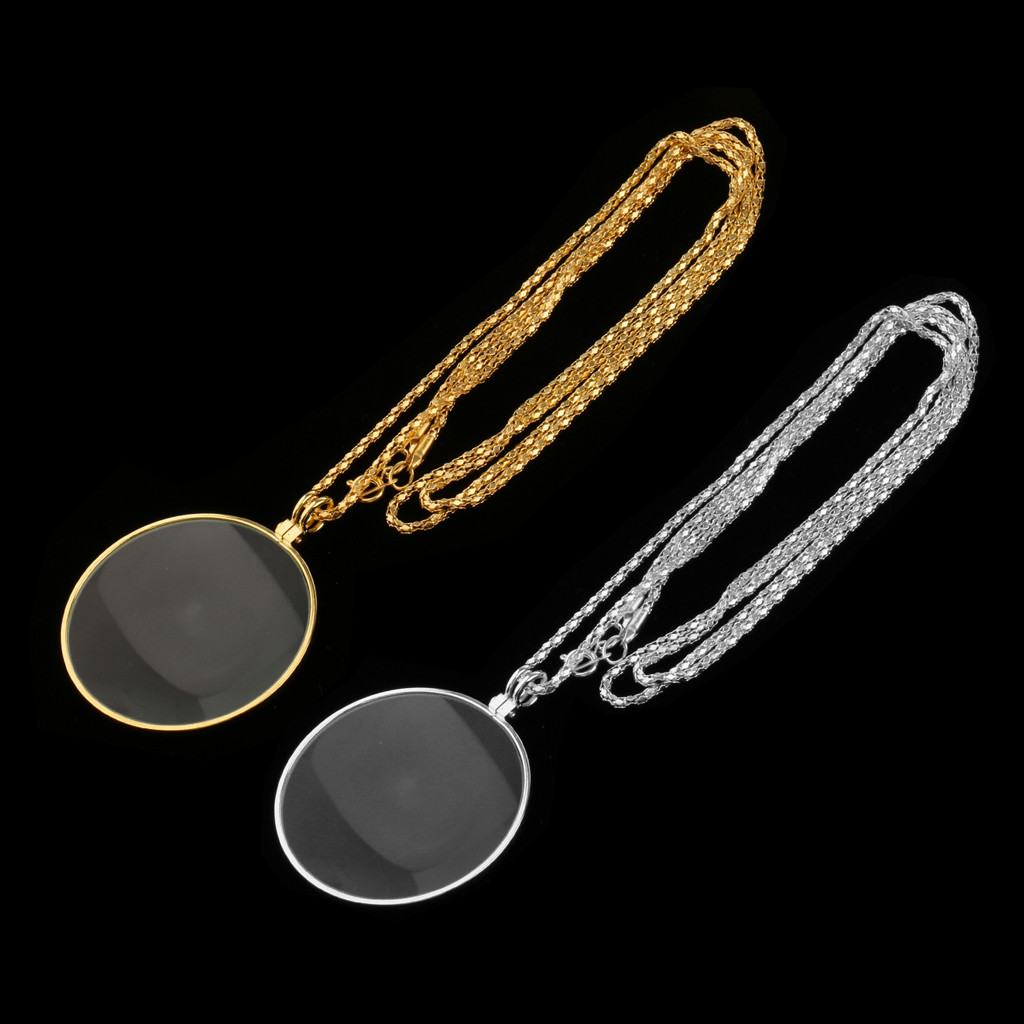 Map Magnifying Glass On Necklace Chain Reading Map Magnifier Loupe Pendant 6X Silver Gold