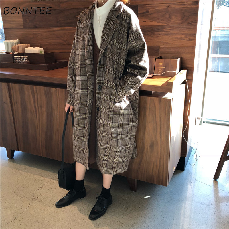 Wool Blends Women Korean Style All-match Plaid Ulzzang Elegant Loose Pocket Single Breasted Long Womens Clothing Chic Casual New
