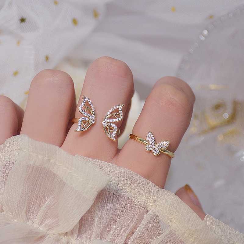Korean 14K Real Gold Hollow Butterfly CZ Ring for Women Adjustable Open Design Pave Zircon Butterfly Ring Wedding Jewelry Gift