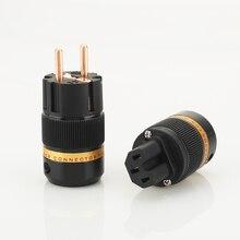 1 paar X Viborg Audio Puer kupfer Überzogene EU Schuko Power Stecker IEC Stecker für Hifi DIY Power Kabel verlängerung adapter