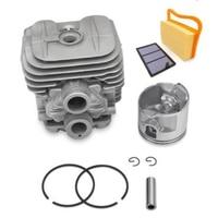 1pc Cylinder Head+1pc Piston+2pc Piston Rings+2pc Collar+1pc Filter+1pc Air Filter For Stihl TS410 TS420 Piston Kit