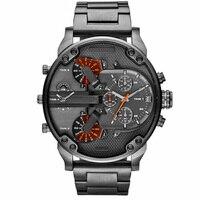 Лидирующий бренд, Роскошные мужские часы с большим циферблатом, военные кварцевые часы, повседневные спортивные деловые металлические нар...