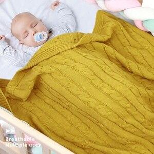 Image 1 - Newborns Boys Girls Baby Blankets Knitted Infant SwaddleMonthly Kids Quilt Stuff For Toddler Stroller Cobertor Infantil Wrap
