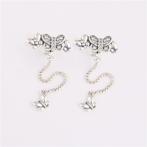 Image 4 - 925 sterling silver earrings new cz Sparkling Butterfly Stud Earrings for ladies birthday gifts