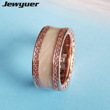 2017 Hearts Enamel Ring 925 sterling silver rings for women with Rose wedding anillos fine silver 925 Memnon jewelry RIP0138(China)