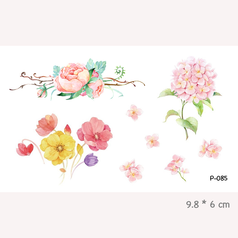 WYUEN Watercolor Flower Waterproof Temporary Tattoo Stickers for Adults Kids Body Art Fake Tatoo for Women Men Tattoos P-080 4