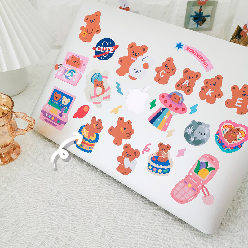 4kinds Cute Bear Removable Stickers DIY Scrapbooking Journal Album Mobile Phone Computer Diary Happy Planner Decorative Stickers