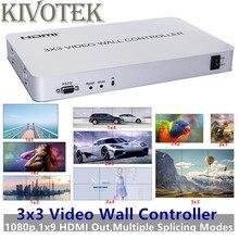 3x3 HDMI Video duvar denetleyicisi adaptörü 1x9 Hdmi konektörü yüksek çözünürlüklü LCD TV duvar işlemci RS232 kontrolü HDTV ekran için ücretsiz kargo