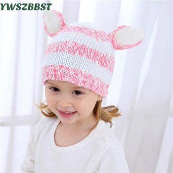 New Striped Winter Baby Hats for Girls Rabbit Ear Children Hat Fashion Knitted Autumn Winter Warm Caps Kids Boys Girls Hats 2017 winter hats warm beanies for men women autumn caps knitted hat for girls boys christmas present new year s gift film cap