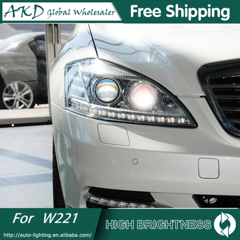 AKD Car Styling for W221 Headlights 2006-2012 S300 S400 LED Headlight ANGEL EYE LOW BEAM high beam DRL Bi-Xenon Lens HID
