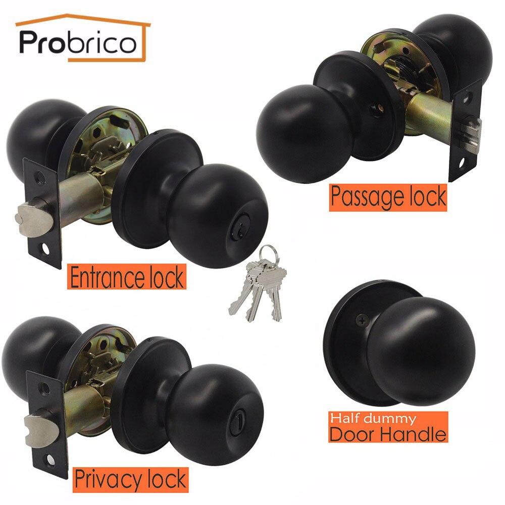Probrico Black Door Handles For Interior Doors Round Door Knobs With Lock Cylinder/latch Rotation Handle Household Door Hardware