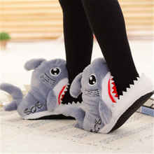 Winter Women Shoes Warm Slippers Funny Men Soft Bottom House Indoor Floor Shark Shape Furry Shallows