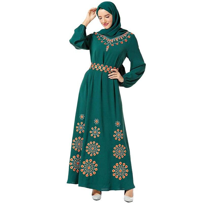 Floral Abaya Kaftan Dubai Turkish Hijab Muslim Dress Caftan Dresses Islamic Clothing For Women Robe Islam Omani Elbise Kleding
