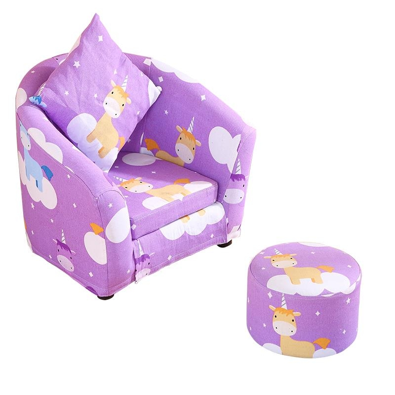 H1 Children's Sofa Cartoon Girl Princess Single Kindergarten Seat Cartoon Washable Cloth Cute Baby Small Sofa Children's Gift