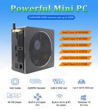 Eglobal กาแฟ Lake I9 8950HK DDR4L Dual Channel NUC คอมพิวเตอร์ 6 Core 12 หัวข้อที่มีประสิทธิภาพที่สุด UHD Mini PC Mini DP HDMI TypeC USB