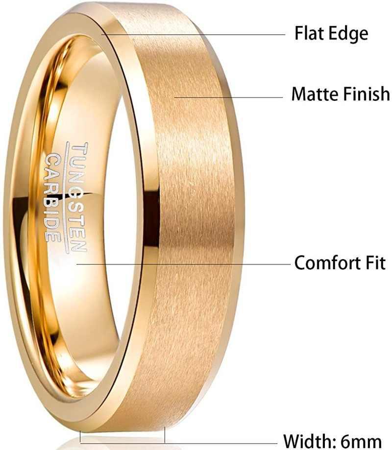 2019 nancad 6 مللي متر حلقة كربيد التنغستن ماتي الانتهاء مشطوف الرجال الذهب اللون الراحة صالح الدائري