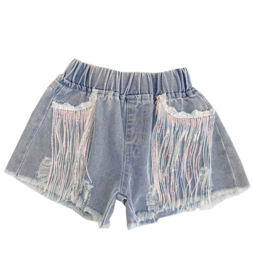Summer girls hot shorts baby mini jeans kids denim shorts children bottoms fashion ripped sequin tassel