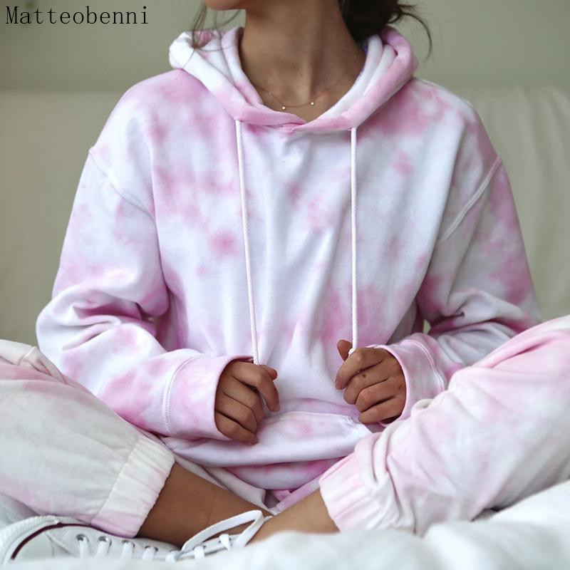 Pink Tie Dye Two Piece Set Lounge wear Women Casual Outfits Autumn Long sleeve Hoodies Top And Pants Jogger Suits 2pcs Tracksuit
