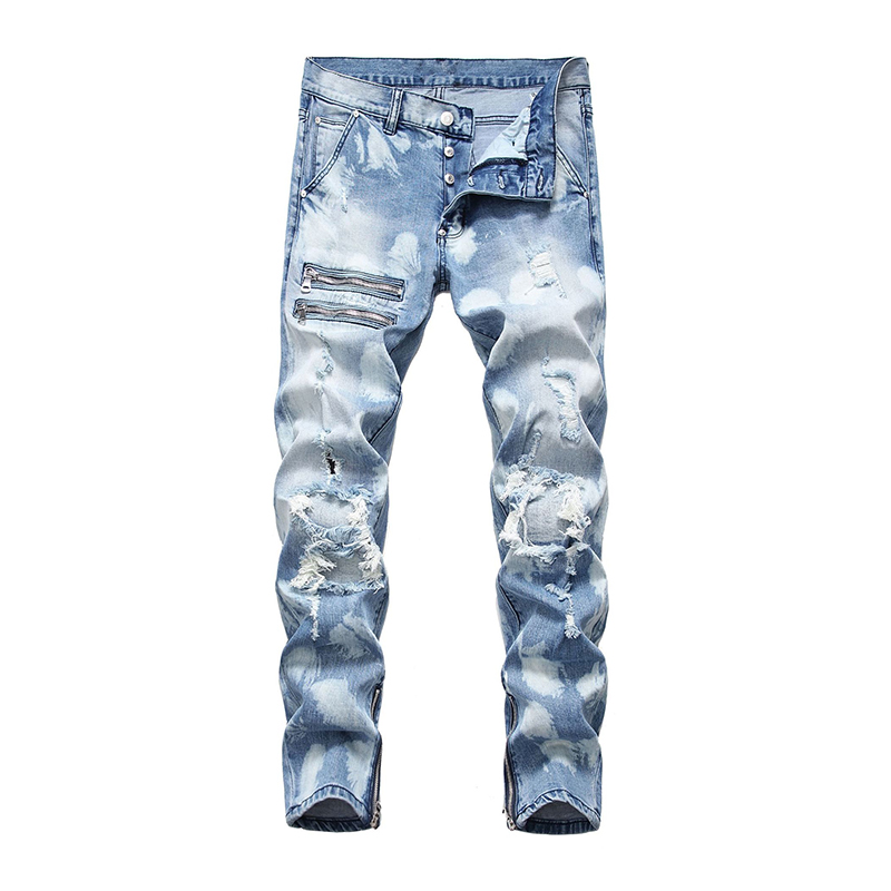 Sokotoo Men's Zippers Ripped Jeans Light Blue Tie And Dyed Holes Patchwork Denim Pants Buttons Fly Trousers
