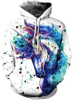 Men's Pullover Hoodie Galaxy Animal 3D Print Hooded Sweatshirts Unisex (Small - Medium, Ink Horse 10) 3d galaxy tree print pullover hoodie
