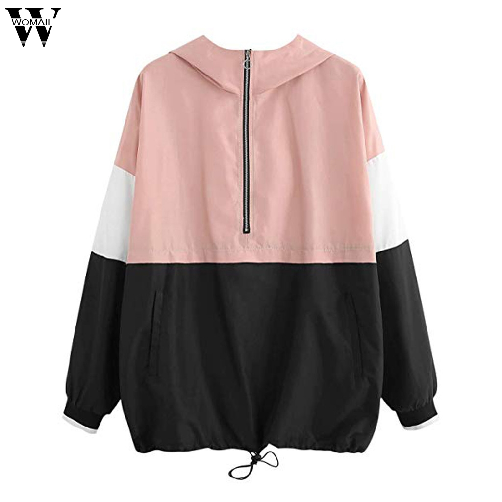 Womail   jacket   Women Coat   Basic     Jacket   with Pockets Hooded Windbreaker Sport Zipper Coat Outwear Bomber Female Baseball Coat 87