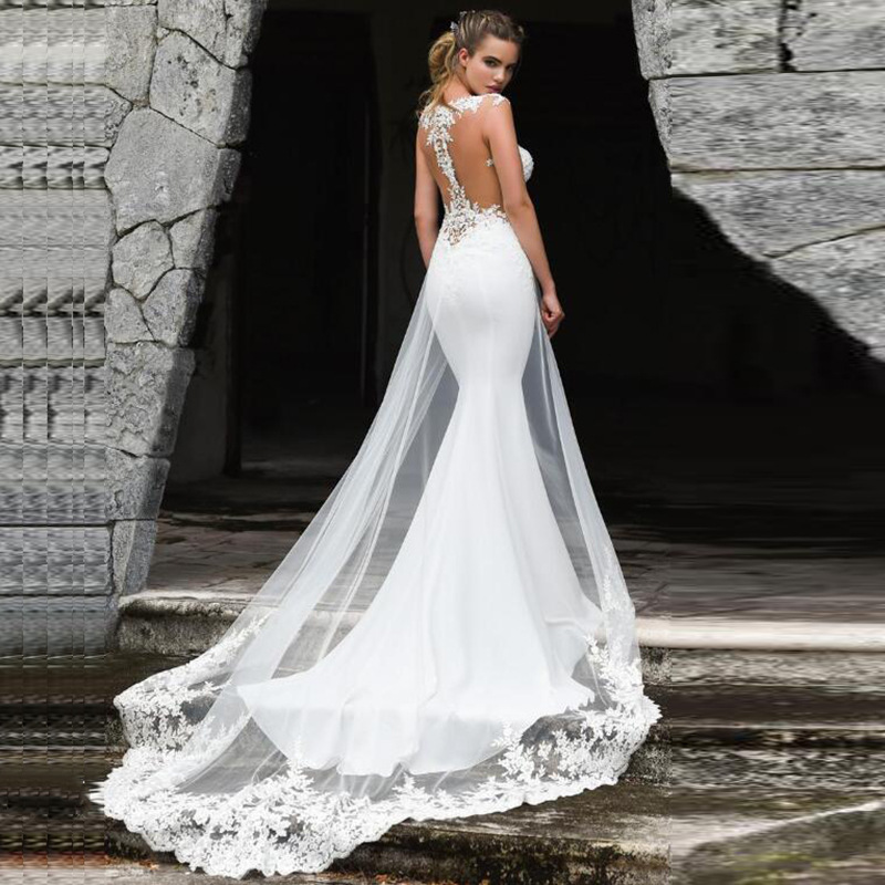 New Foreign Trade Wedding Ceremony Service New Word Shoulder Fish Tail Show New Marriage Abridged Swallowtail Wedding Dress