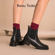 Boot Chelsea-Boots Ankle-Shoes Beautoday Genuine-Leather Women Plus-Size Brand 03026