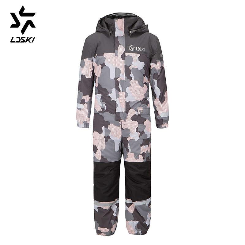 LDSKI çocuklar tulum kayak takım elbise dayanıklı su geçirmez kabuk kar geçirmez ısı yalıtımı sıcak kış spor elbise bilek ve bot paçaları