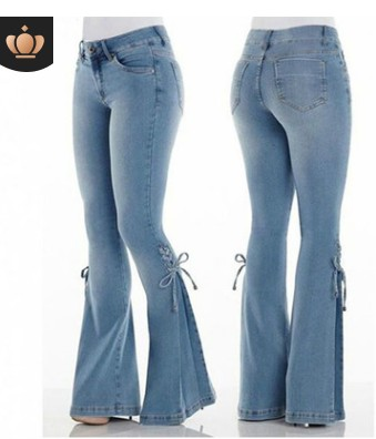 WENYUJH Women's Jeans Casual Slim Stretchy Denim Waist Jeans Oversized Long Flare Pants Light Blue Wide Leg Trousers For Women