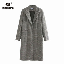 ROHOPO Houndstooth Notched Collar Side Pocket Knee Length Grey Blend Coat Single Button Ladies British Academy wool #9295