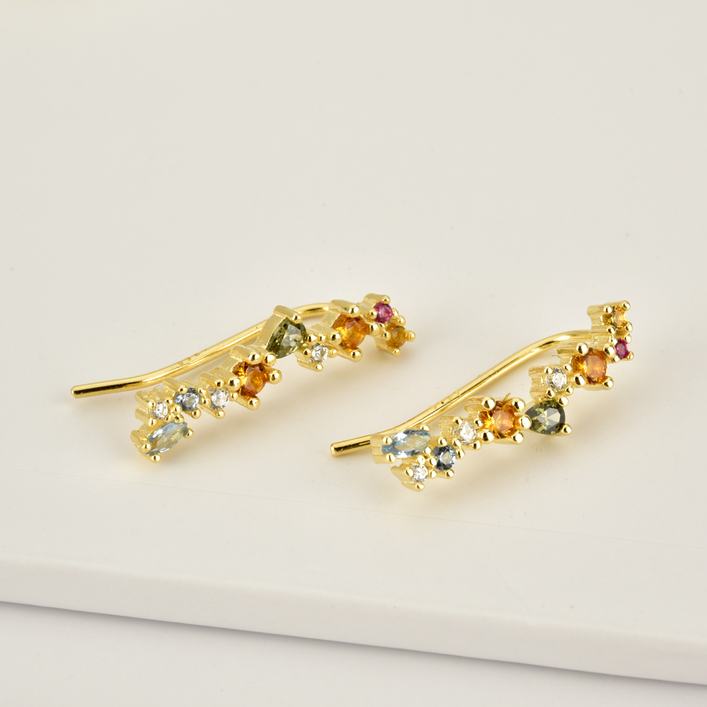 ANDYWEN 100% 925 Sterling Silver Rainbow Zircon CZ Big Hoops Circle Earring Round Piercing Pendiente Climber European Jewelry
